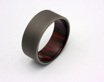 Sandblasted Titanium and wood ring Cocobolo wood wedding band