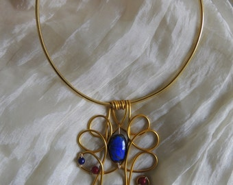 Black gold aluminum and blue and red beads necklace