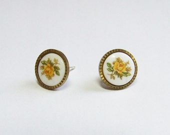 Yellow Rose Studs Earrings - small shabby chic vintage style flower earrings
