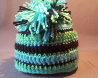 Crochet Striped Baby Hat with Mohawk
