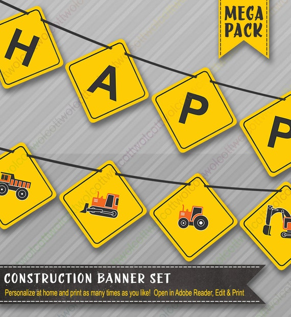 Construction Party Banners Mega Banner Pack Birthday