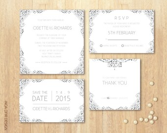 Wedding Invitation Set, Gray Invitation Set, Classic Invitation, Printable DIY Wedding Invitation Set, RSVP, Save The Date, Thank You Card