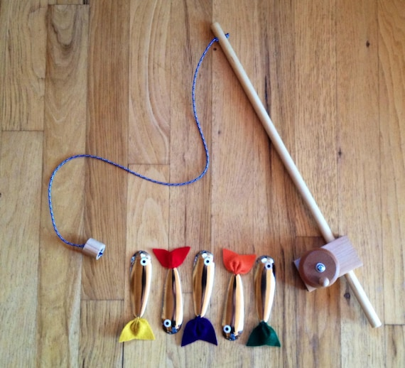 Magnetic wooden fishing rod toy with five by for Magnetic fishing pole
