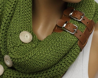 knit infinity scarf Leather cuff  winter scarfs neck warmer cowl birthday gifts