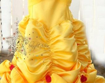 Belle dress - handmade dress - halloween costume - princess costume - dress - girls dress - childs dress - beauty and the beast costume