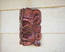 Vintage Carved Red Wooden Mask, Native American, Tribal Face Bordo Mask, Ethnic Mask Wall Art, Hanging Art Sculpture, Vintage Home Decor