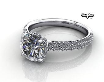 Moissanite Engagement Ring 14kt White Gold, Forever One, Wedding Ring, Pave Set Diamonds #7078
