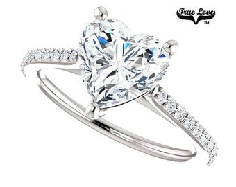 Moissanite Engagement Ring 14kt White Gold, Forever Brilliant, Wedding Ring, Heart Ring  #6816