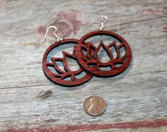 Large Wood Lotus Earrings - light weight, surgical steel ear wires, Rosewood, yogie gift, yoga jewelry, yoga earrings, yoga teacher gift