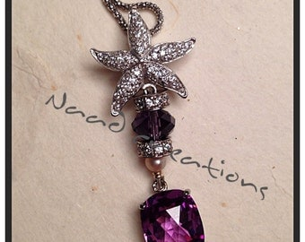 Pendant with star of white sapphires and cultured pearl and Amethyst pendant