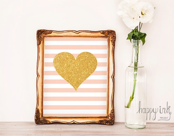 Etsy Gold Wall Decor : Items similar to pink gold heart wall art instant