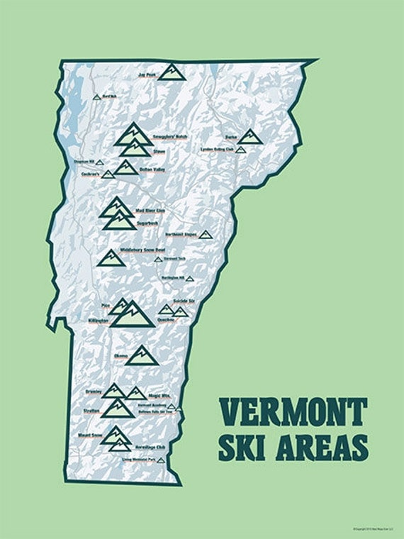 Vermont Ski Resorts Map 18x24 Poster 427