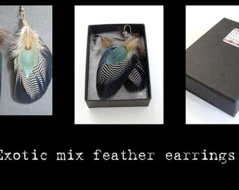 CFD Handmade feather earrings unique jewellery jewelry boho indie gypsy designer