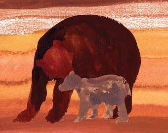 Mother bear and cub Watercolor 5x7""