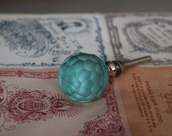 Glass Drawer Knobs In Teal On Silver Hardware, Faceted Glass Knob, Glass Cabinet Pulls, Turquoise Glass Dresser Knobs, Dresser Drawer Knobs