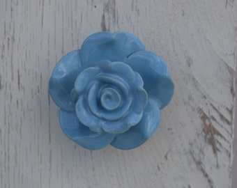 Rose Flower Drawer Knobs In Sky Blue On A Brass Base, Floral Cabinet Knobs