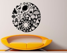 Popular items for yin yang wall decal on etsy for Decoration murale yin yang
