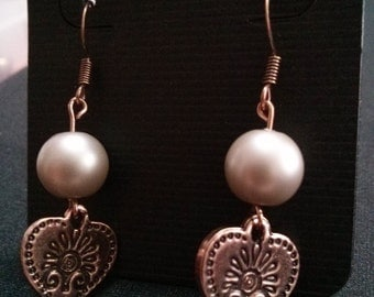 Pear and Heart Rose Gold Earring