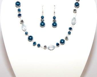 Teal Blue Double Wire Necklace, Bracelet & Earring Jewellery/Jewelry set