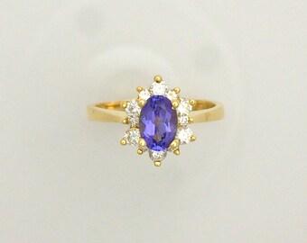 0.82 ct. Oval Tanzanite & 0.43 ct. Diamond Ring - 18K Yellow Gold - December Birthstone - Alternative Engagement Ring - Flower Pattern