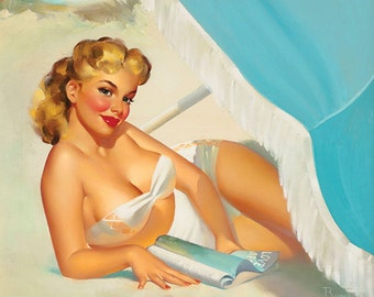 "Vintage Pinup Art Girl // Runci : Thinking of You // 18""x24"" Digital Download //Easy to Scale Down"