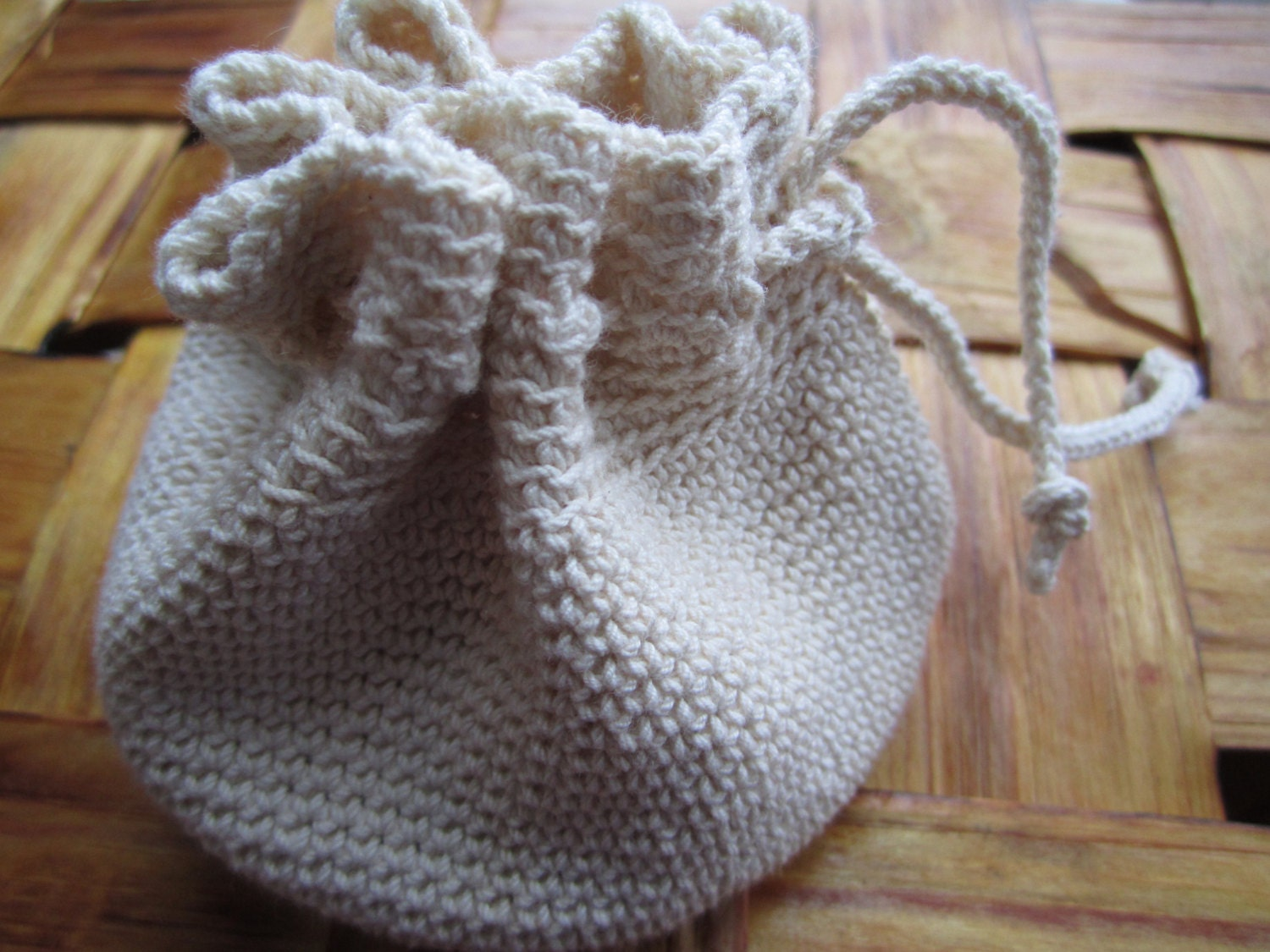 Crochet Drawstring Bag : Crochet Purse Drawstring Pouch Valentine Gift Bag by EdithEmil