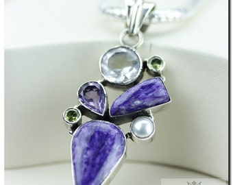 Made in Italy! Excellent Coloration Charoite Pearl Topaz 925 SOLID Sterling Silver Pendant + 4mm Snake Chain & FREE Worldwide Shipping