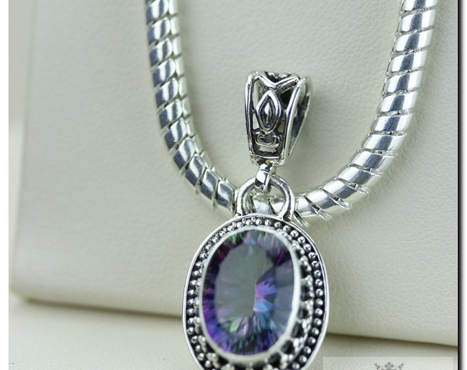 Petite Size!! 31 Carats VINTAGE Setting Mystic Topaz 925 SOLID Sterling Silver Pendant + 4mm Snake Chain &  Worldwide Shipping
