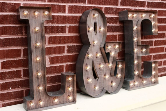 Red Metal Letters With Lights 3 Custom Light Up Letters 2 Initials W Ampersand & Sign For
