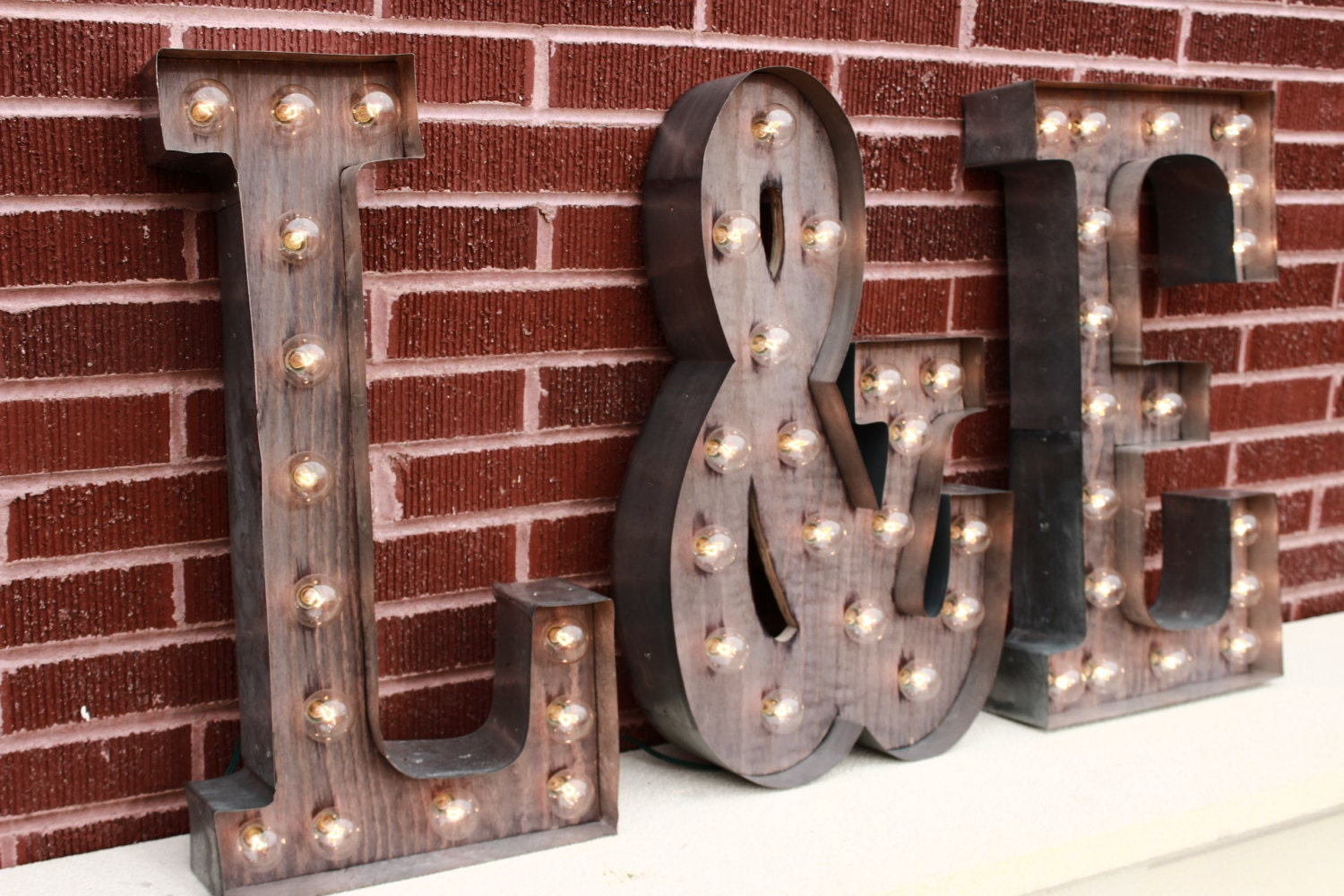 3 Custom Light Up Letters 2 Initials w/ Ampersand & sign for:🔎zoom,Lighting