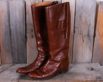 Vintage Brown Genuine Leather Tall Riding Boots, Equestrian, Size 6