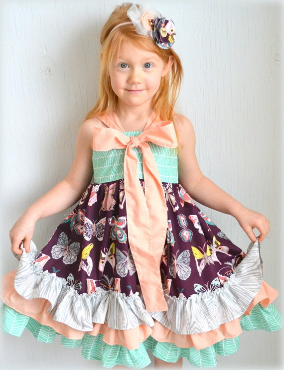 5T Girls Twirl Dress Boutique Ruffle Dress Little Girls
