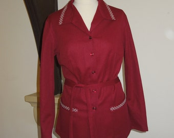 Vintage 70s dark red tunic top with waist tie and white embroidered detail