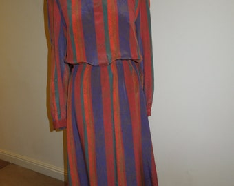 Vintage silk shirt dress in jewel colours UK size 12