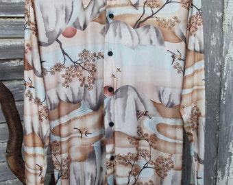 Vintage 1970's Mens Disco Shirt Long Sleeve Polyester Nylon by Kennington of California