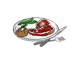 Steak Dinner Clipart - Steak Dinner Clip Art, Dinner Clipart, Dinner Plate Clipart, Food Clipart, Potato Clip Art, Restaurant Clipart, Ea