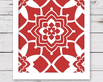 Red and White Art, PRINTABLE Art, Red Wall Decor, INSTANT DOWNLOAD, Flower Art, Printable Artwork, Printable Wall Art, Red Art Print