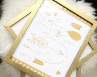 Gold Arrows Print