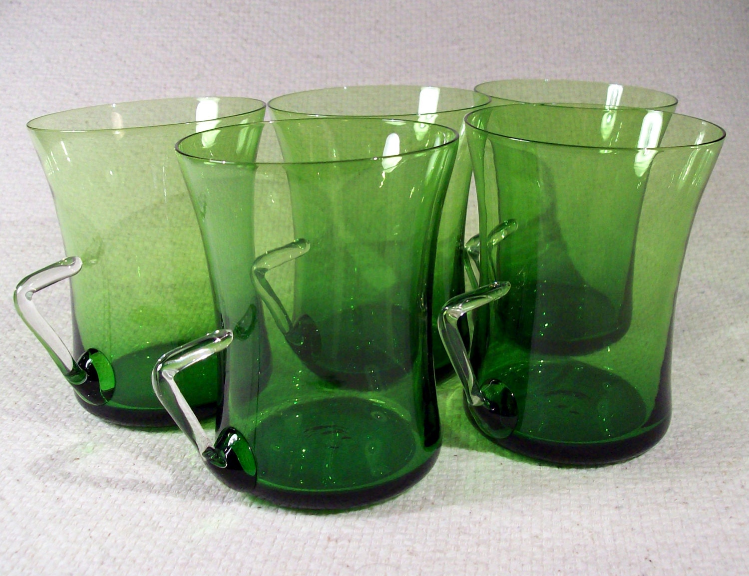 Set of Five Hand-blown Glass Cups with Unique Handles