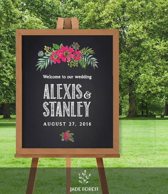 Items Similar To Wedding Welcome Sign / Chalkboard Flower
