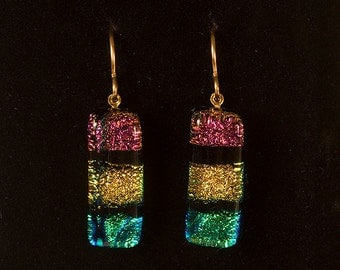 Dichroic Glass Rectangle Earrings on French Wire