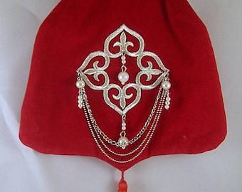Red Velveteen Shoulder Purse  w/ Pearl Applique - Renaissance - Victorian