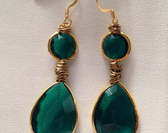Elegant Emerald Drop Earrings