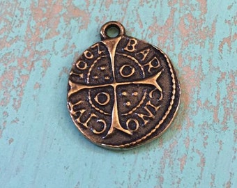 Spanish Coin, Cross Charm, Pendant, Bronze Religious Medals, Rosary, Religious Jewelry, Supplies