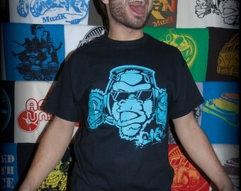 Tee shirt ASKAN UNITED 'Gorillas' - Tee shirt black - turquoise inking