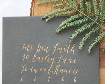 Modern Calligraphy Wedding Invitation Envelope Addressing