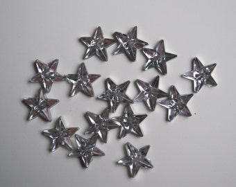 15 star shaped rhinestone resin buttons