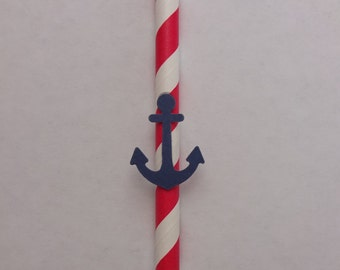 Red and White Striped Straw with Anchor Detail