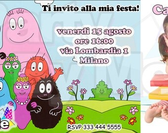 Personalized BARBAPAPA PARTY INVITATIONS with your photos and texts