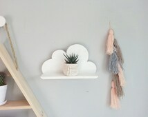 Wooden cloud shelf - pine cloud shelf - hand made white decorative shelf